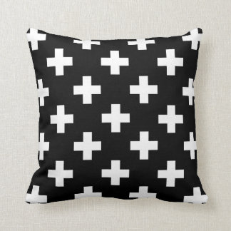 Black and White Swiss Cross Pillow