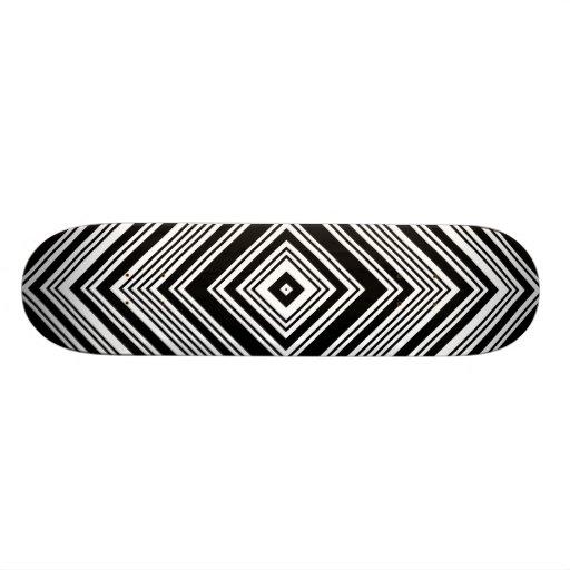 Black and White Symmetrical Design. Custom Skate Board