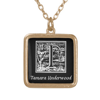 Black and White T Monogram Initial Personalized Square Pendant Necklace