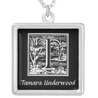 Black and White T Monogram Initial Personalized Necklace