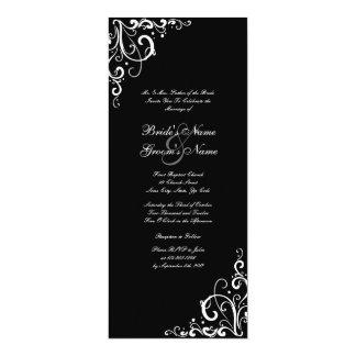 Black and White Tall Flourish Wedding Invitation