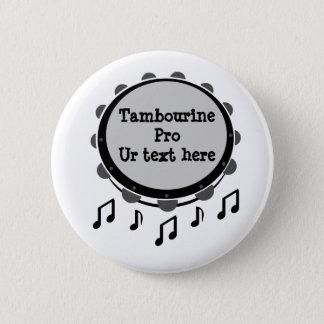 Black and White Tambourine 6 Cm Round Badge