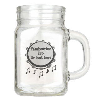 Black and White Tambourine Mason Jar