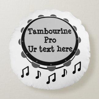 Black and White Tambourine Round Cushion