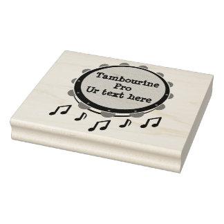 Black and White Tambourine Rubber Stamp