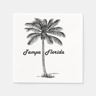 Black and White Tampa & Palm design Paper Napkin
