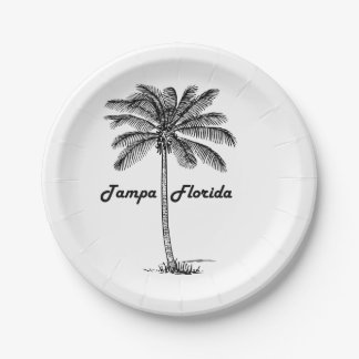 Black and White Tampa & Palm design Paper Plate