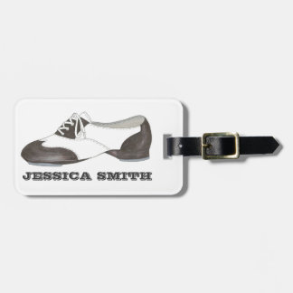 Black-and-White Tap Oxford Dance Shoe Bag Tag
