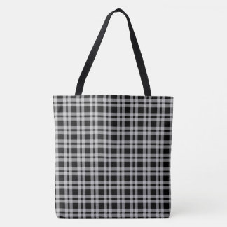 Black And White Tartan Plaid Checked Pattern Tote Bag