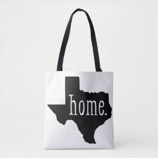 Black and White Texas State Home Tote Bag