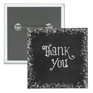 Black and White Thank You 15 Cm Square Badge