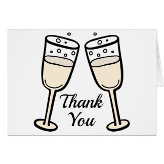 Black And White Thank You Champagne BlushWedding Card