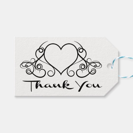 Black And White Thank You Heart Wedding