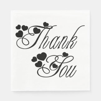 Black And White Thank You Hearts - Wedding Party Paper Napkin
