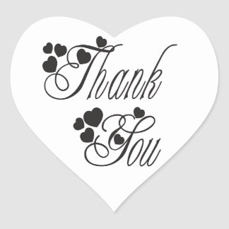 Black And White Thank You Love Hearts - Wedding Heart Sticker