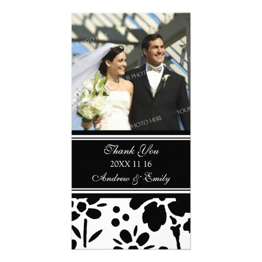 Black and White Thank You Wedding Photo Cards