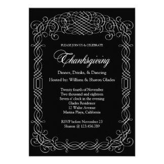 Black and White Thanksgiving Dinner Calligraphy Custom Invitations
