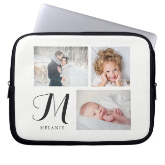 Black and White Three Photo Collage with Monogram Laptop Sleeve