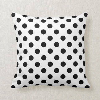 Black and White Throw Pillow, Polka Dots Cushion