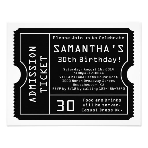 Black and White Ticket Invitation, Digital Style