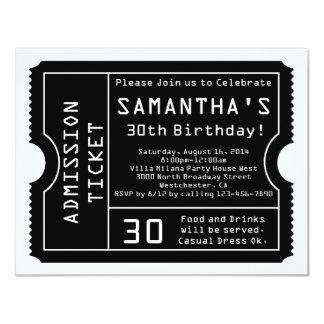 "Black and White Ticket Invitation, Digital Style 4.25"" X 5.5"" Invitation Card"