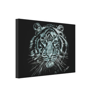 Black and white tiger drawing on box canvas canvas print