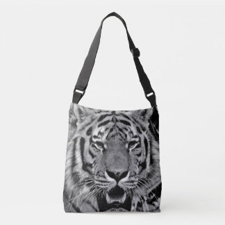 Black and White Tiger Face Crossbody Bag