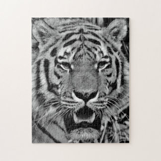 Black and White Tiger Face Jigsaw Puzzle