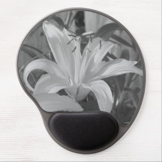 Black and White Tiger Lily Gel Mousepad