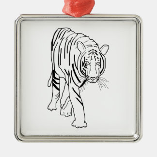 Black and White Tiger Made of Lines Facing Forward Silver-Colored Square Decoration
