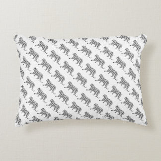 Black and White Tiger Silhouette Pattern Accent Cushion