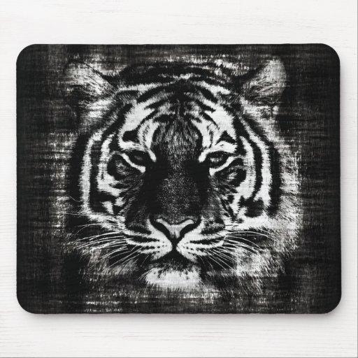 Black and White Tiger Vintage Mousepad