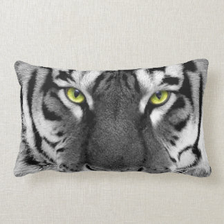 BLACK AND WHITE TIGER WITH GREEN EYES PILLOW
