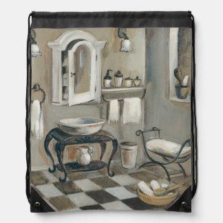Black and White Tiled French Bathroom Rucksack