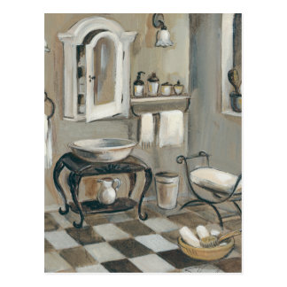 Black and White Tiled French Bathroom Postcards