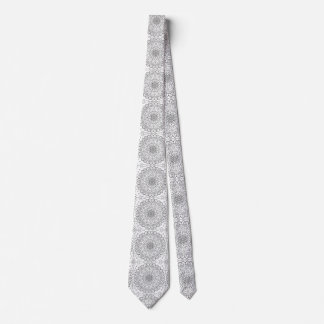 Black and White Tiled Mandala Zen Buddha Geometric Tie