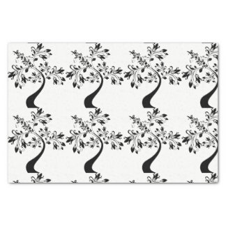 Black and white tissue paper tree design