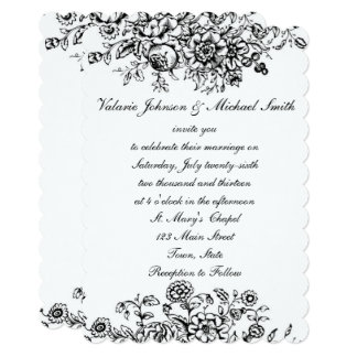 Black and White Toile, Custom Wedding Invitation
