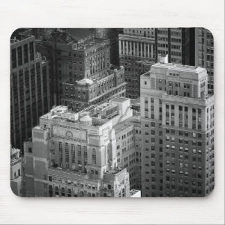 Black and White Tops of NYC Buildings Mouse Pad