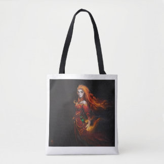 Black and white Tote bag with fantasy print