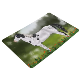 Black and White Tovero Paint Horse Floor Mat
