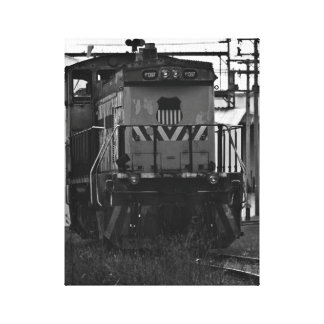 Black and White Train engine Hartford MI Canvas Print