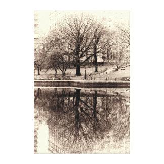 Black and White Tree Landscape Photo Canvas Print