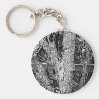 Black and White Tree Nature Photo Key Ring