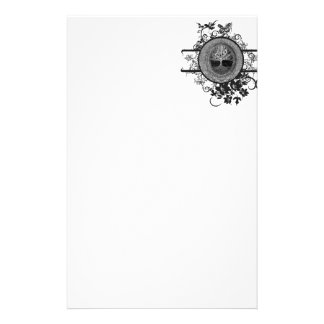 Black and White Tree of Life with Flowers Stationery Paper