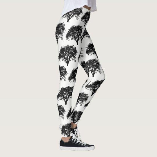 Black and White Trees Design Pattern Cool Leggings