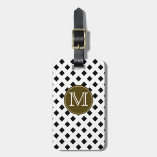 black and white trellis personalized luggage tag