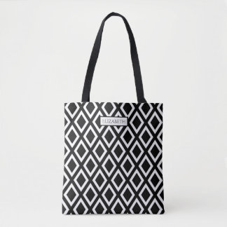 Black and white trendy large geometrical pattern tote bag