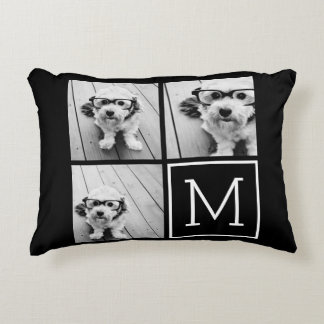 Black and White Trendy Photo Collage with Monogram Accent Cushion