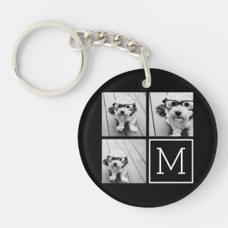 Black and White Trendy Photo Collage with Monogram Double-Sided Round Acrylic Key Ring